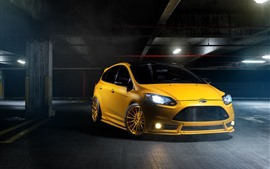 Preview wallpaper Ford yellow car front view, headlight, lights, parking