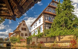 France, Alsace, river, houses, trees