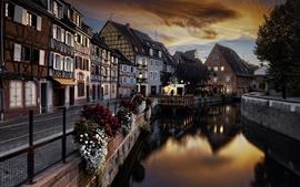 France, Colmar, city, river, houses, dusk, lights