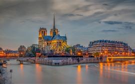 Francia, París, río, puente, edificios, luces, noche