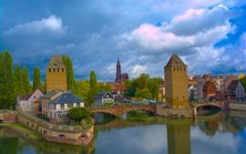 Франция, Страсбург, мост, река, дома, облака, небо
