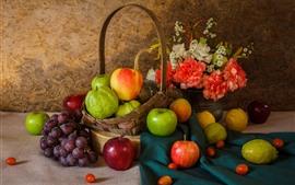 预览壁纸 水果,葡萄,苹果,梨,鲜花