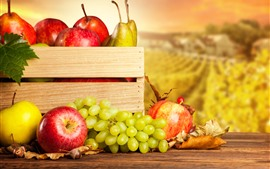 Preview wallpaper Fruit photography, grapes, apples, pears, box