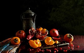 Preview wallpaper Fruit, pomegranate, persimmon