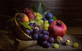 Preview wallpaper Fruit, still life, pomegranate, grapes, plums