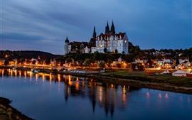 Alemania, Elba, ciudad, castillo, río, luces, noche