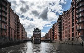 Alemanha, hamburgo, edifícios, cidade, rio, ponte, nuvens