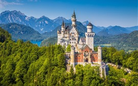 Germany, Neuschwanstein, castle, trees, mountains
