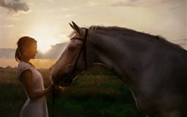 Preview wallpaper Girl and horse, backlight, sun