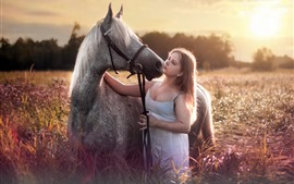 Preview wallpaper Girl and horse, flowers, sunshine