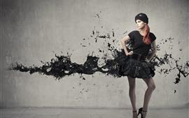 Menina, chapéu, saia preta, respingo de tinta, imagem criativa