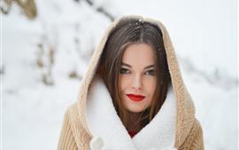 Fille en hiver, neige, manteau