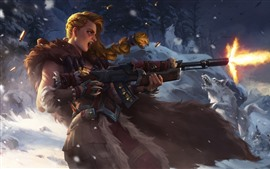 Preview wallpaper Girl shooting, weapon, wolf, art picture, snow