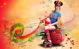 Girl, strawberry, colorful, creative design