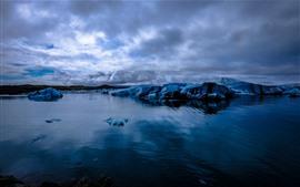 Ледник, лед, море, сумерки