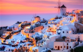 Greece, Santorini, island, dusk, houses, lights