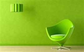Silla verde, lampara, pared