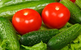 Preview wallpaper Green cucumbers and red tomatoes, vegetable