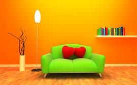 Sofá verde, travesseiro de coração vermelho amor, lâmpada, livros, fundo laranja