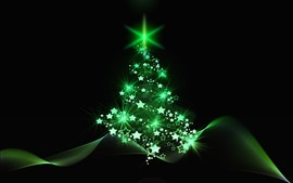 Green style Christmas tree, stars, abstract