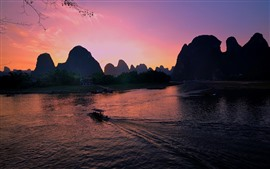 Guangxi, guilin, yangshuo, rio, colinas, bote, pôr do sol, china