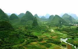 Paisagem de Guangxi Guilin Yangshuo, aldeia, montanhas, China