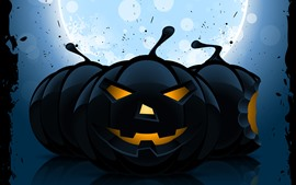 Preview wallpaper Halloween, black pumpkin, art picture