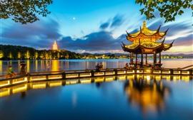 Aperçu fond d'écran Hangzhou, pavillon Xiying, lac, parc, nuit, lumières, Chine