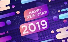 Feliz Año Nuevo 2019, colores, diseño.