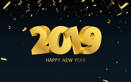 Preview wallpaper Happy New Year 2019, golden style