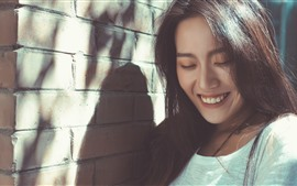 Happy girl, smile, wall, sunshine