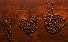 Aperçu fond d'écran J'aime le café, beaucoup de grains de café