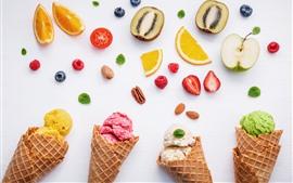 Preview wallpaper Ice cream, orange, kiwi, strawberry, apple