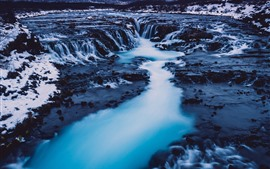 Iceland, waterfall, river, snow