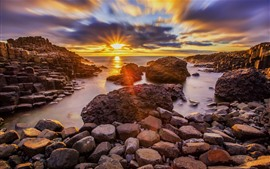 Preview wallpaper Ireland, Moyle, rocks, sea, sunset