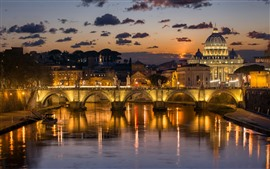 Preview wallpaper Italy, Rome, river, bridge, buildings, night, lights