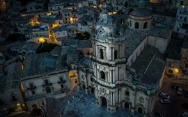 Preview wallpaper Italy, Sicily, Modica, San Giorgio cathedral, houses, night, lights