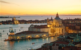Preview wallpaper Italy, Venice, cathedral, river, water, night, city