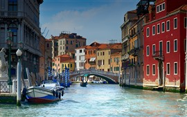 Italy, Venice, gondolas, river, bridge, houses