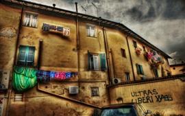 Italia, ciudad, pared, casas, ropa, nubes, estilo HDR