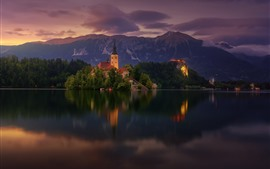 Lake Bled, church, Slovenia, trees, mountains, dusk
