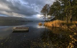 Lago, barco, hierba, árboles, nubes, atardecer