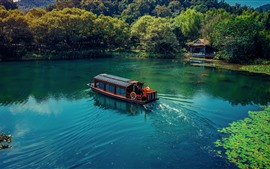 Lake, boat, trees, house, park, China