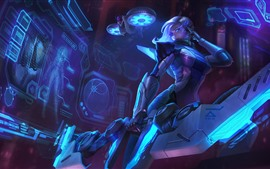 League of Legends, Ashe, garota, azul