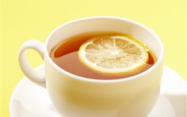 미리보기 배경 화면 레몬 티, 컵, 흐릿한