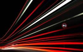 Preview wallpaper Light lines, speed, road, night