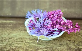 Preview wallpaper Lilac, flowers, bowl