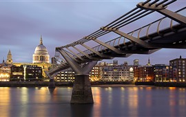 Preview wallpaper London, England, Thames, Millennium Bridge, cityscape, night