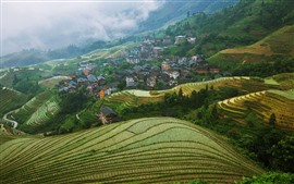 Preview wallpaper Longsheng Terrace, Guangxi, China, village, countryside, fog, morning