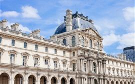 жалюзийное отверстие, здания, статуя, Париж, Франция